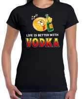 Goedkope life is better with vodka emoticon fun shirt dames zwart