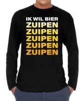 Goedkope long sleeve t-shirt zwart met ik wil bier zuipen zuipen zuipen bedrukking voor heren