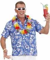 Goedkope luau shirt blauw met witte bloemen