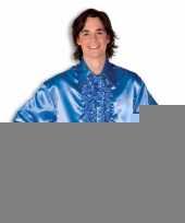 Goedkope luxe heren rouche overhemd blauw