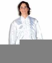 Goedkope luxe heren rouche overhemd wit