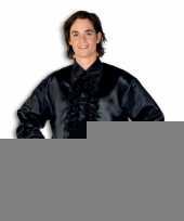 Goedkope luxe heren rouche overhemd zwart
