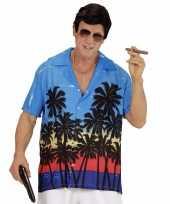 Goedkope maffia kostuum blauw overhemd voor heren