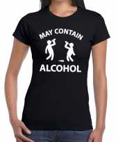 Goedkope may contain alcohol fun shirt zwart voor dames drank thema
