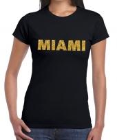 Goedkope miami gouden letters fun t-shirt zwart voor dames