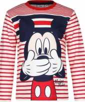 Goedkope mickey mouse shirt lange mouw rood wit voor jongens