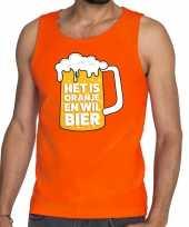 Goedkope mouwloos shirt oranje met tekst het is oranje en wil bier heren