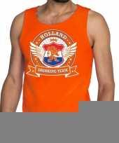 Goedkope nederland drinking team tankop mouwloos shirt oranje heren