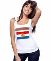 Goedkope nederland vlag mouwloos shirt wit dames