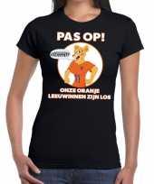 Goedkope nederlands dames elftal supporter shirt pas op leeuwinnen zwart voor dames