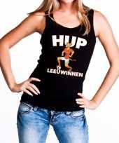 Goedkope nederlands elftal supporter tanktop mouwloos shirt hup leeuwinnen zwart voor dames 10151682
