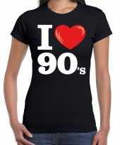 Goedkope nineties shirt met i love 90s bedrukking zwart voor dames