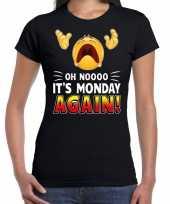 Goedkope oh nooo its monday again emoticon fun shirt dames zwart