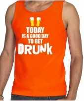 Goedkope oranje good day to get drunk bier tanktop mouwloos koningsdag t-shirt voor heren