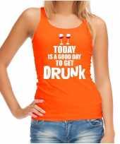 Goedkope oranje good day to get drunk wijn tanktop mouwloos koningsdag t-shirt voor dames