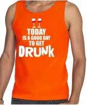 Goedkope oranje good day to get drunk wijn tanktop mouwloos koningsdag t-shirt voor heren