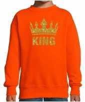 Goedkope oranje koningsdag gouden glitter king trui kinderen
