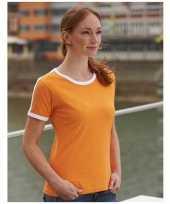 Goedkope oranje met wit contrast dames shirt