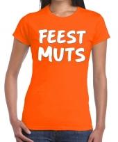 Goedkope oranje t-shirt feestmuts voor dames