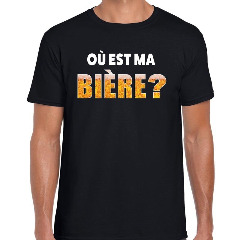 Goedkope ou est ma biere fun shirt zwart voor heren drank thema