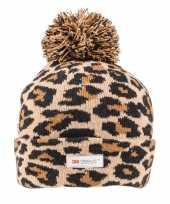 Goedkope panterprint luipaardprint muts bruin zwart voor dames vrouwen