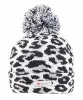 Goedkope panterprint luipaardprint muts grijs zwart voor dames vrouwen