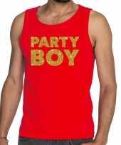 Goedkope party boy fun tanktop mouwloos shirt rood voor heren