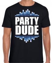 Goedkope party dude fun tekst feest disco t-shirt zwart voor heren