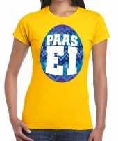 Goedkope pasen shirt geel met blauw paasei voor dames