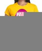 Goedkope pasen shirt geel met roze paasei voor dames