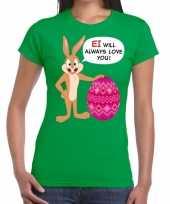 Goedkope pasen shirt groen ei wil always love you voor dames