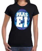 Goedkope pasen shirt zwart met blauw paasei voor dames