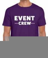 Goedkope personeel t-shirt paars met event crew bedrukking voor heren