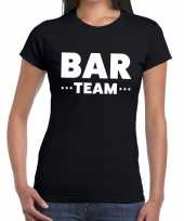Goedkope personeel t-shirt zwart met bar team bedrukking voor dames