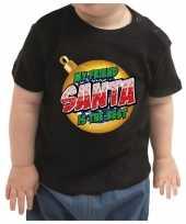 Goedkope peuter kerst shirt my friend santa is the best voor meisje jongen zwart
