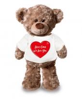 Goedkope pluche knuffel met lieve oma we love you t-shirt wit met rood hartje