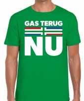 Goedkope protest t-shirt gas terug nu groningen groen voor heren