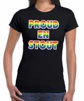 Goedkope proud en stout gaypride tekst fun shirt zwart dames