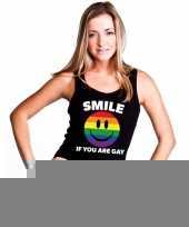 Goedkope regenboog emoticon smile if you are gay mouwloos shirt tanktop zwart dames