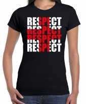 Goedkope respect rood kruis steun shirt zwart voor dames