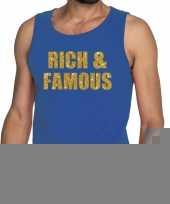 Goedkope rich and famous fun tanktop mouwloos shirt blauw voor heren