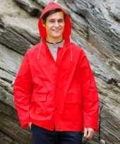 Goedkope rode unisex regenjas met drukknoopsluiting voor volwassenen