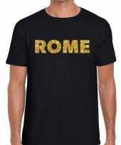 Goedkope rome gouden letters fun t-shirt zwart voor heren