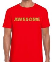 Goedkope rood awesome goud fun t-shirt voor heren