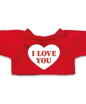 Goedkope rood knuffel shirt hartje i love you maat m voor clothies knuffel 13 x 9 cm