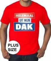 Goedkope rood plussize t-shirt voor heren met tekst helemaal uit mijn dak