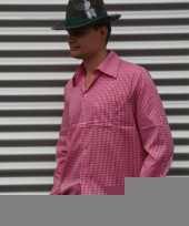 Goedkope roze oktoberfest overhemd voor heren