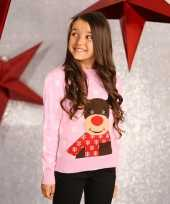 Goedkope roze winter trui rendier voor meiden
