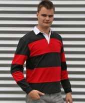 Goedkope rugby shirts zwart met rood