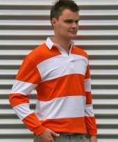 Goedkope rugbyshirt oranje wit heren